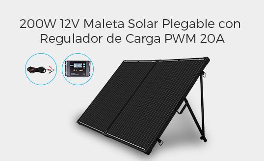 MALETA SOLAR PLEGABLE 200W 12V CON REGULADOR DE CARGA PWM 20A